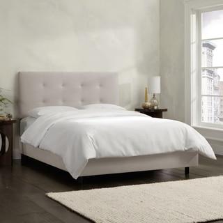Skyline Furniture Grey Velvet Tufted Bed