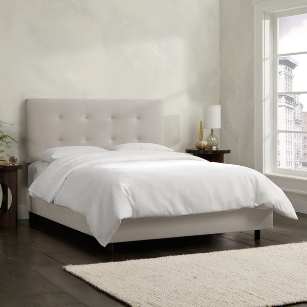 Skyline Furniture Grey Velvet Tufted Bed