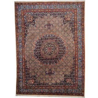Herat Oriental Persian Hand-knotted 1960's Semi-antique Moud Ivory/ Blue Wool Rug (8'8 x 11'10)