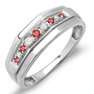 Sterling Silver Men's 1/4ct TDW Round Ruby and Diamond Wedding Band (I-J, I1-I2)