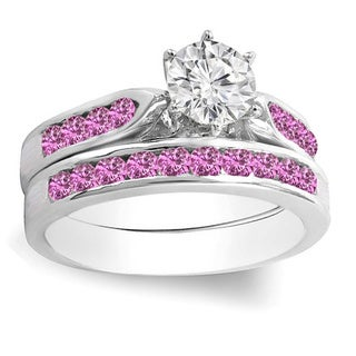 14k Gold 1ct TDW Round Pink Sapphire and White Diamond Engagement Ring Set With Matching Band (H-I and Pink, I1-I2)