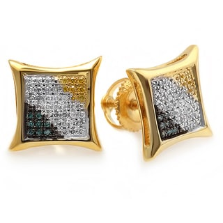 18k Yellow Goldplated Sterling Silver 1/5ct TDW Blue/ White/ Yellow Diamond Stud Earrings (I-J, I2-I3 )