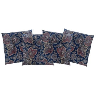Navy Blue Floral Slim Chair Pad 4-Pack