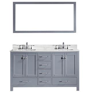 Virtu USA Caroline Avenue 60-inch Double Bathroom Vanity Cabinet Set in Grey