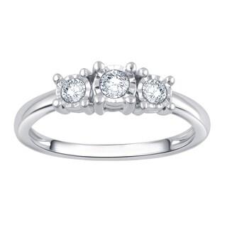 Divina Silver 1/4ct TDW 3-stone Engagement Ring (I-J, I2-I3)