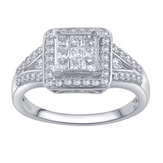Divina 10k White Gold 3/4ct TDW Round and Princess Diamond Anniversary Ring (I-J, I2-I3)