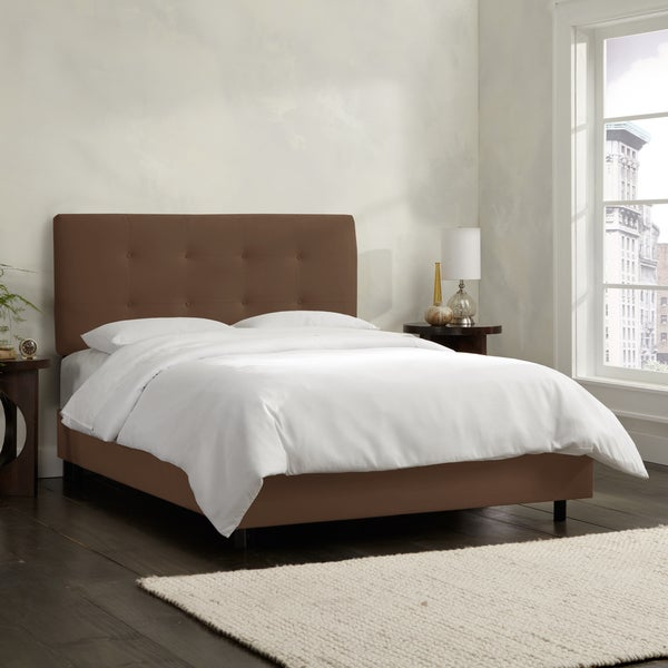 Skyline Furniture Chocolate Velvet Tufted Bed