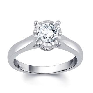 14k White Gold 1ct TDW Diamond Solitaire Engagement Ring (H-I, I2-I3, IGL Cert)