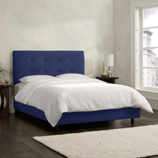 Skyline Furniture Navy Velvet Tufted Bed