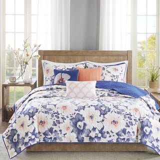 Madison Park Aria Navy Cotton Quilted Coverlet Set