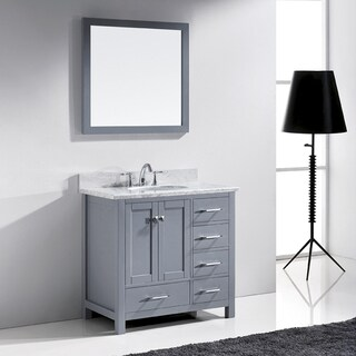 Virtu USA Caroline Avenue 36-inch Single Bathroom Vanity Cabinet Set in Grey