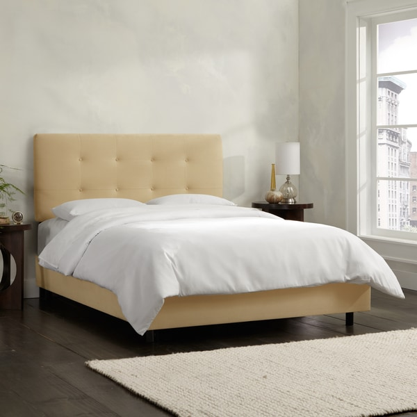 Skyline Furniture Buckwheat Velvet Tufted Bed