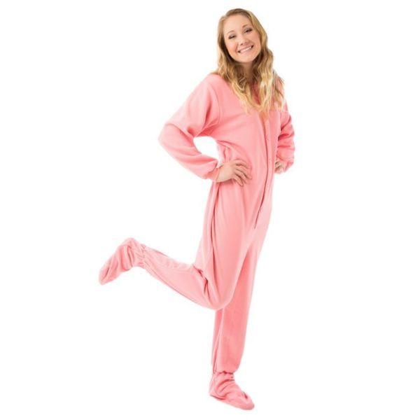 Big Feet PJ's Unisex Pink Fleece Unisex Adult Footed Pajamas with Drop Seat
