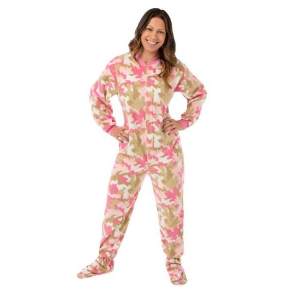 Big Feet Pajama Co. Women's Pink Camouflage Fleece Footed Pajamas with Drop Seat