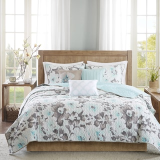 Madison Park Aria Aqua Cotton Quilted Coverlet Set