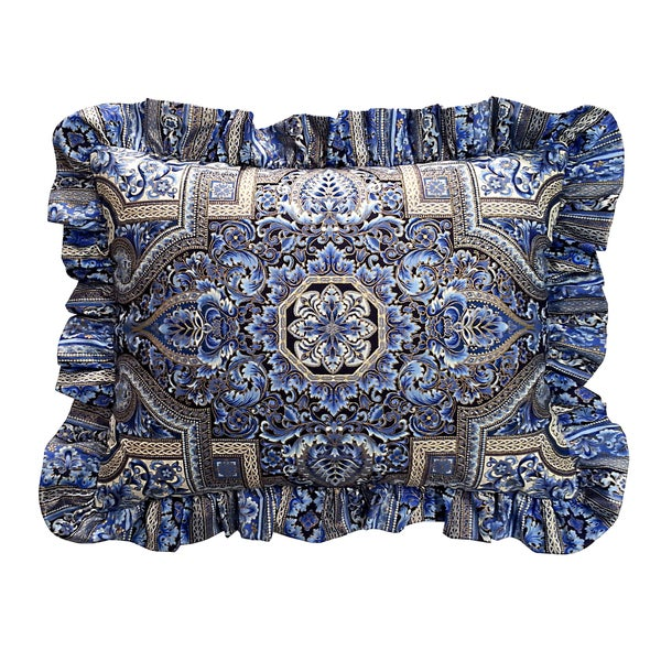 Aegean Ruffled Blue and Gold Rectangle Pillow