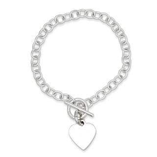 Sterling Silver Polished Heart Charm Bracelet