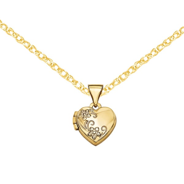 Versil 14k Yellow Gold Floral Etched Heart Locket