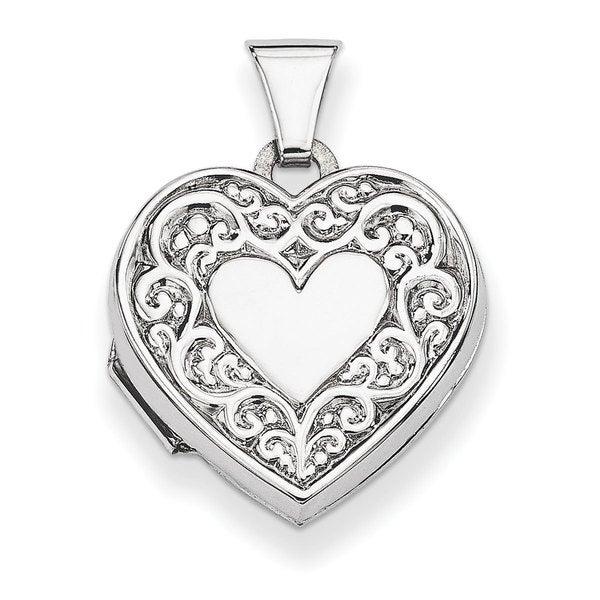 Versil Sterling Silver Filigree Heart Locket