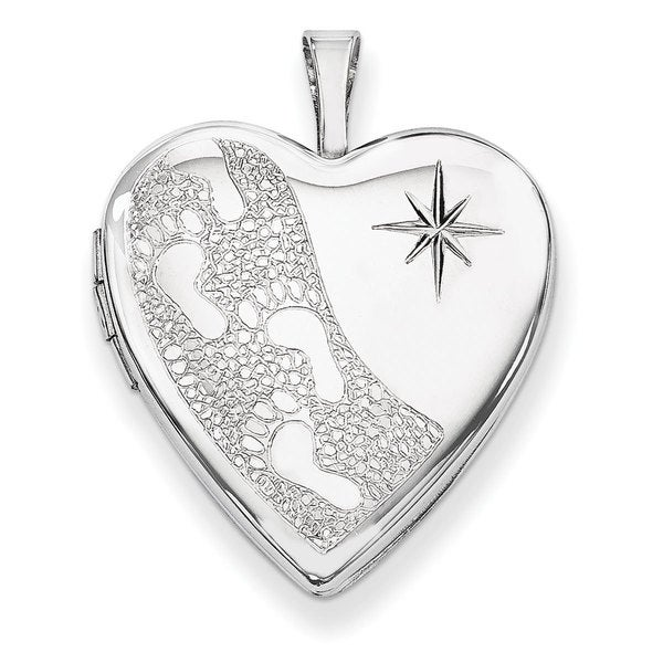 Versil Sterling Silver 20mm D/C Footprints Heart Locket