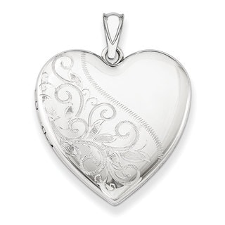 Versil Sterling Silver 24mm Scrolled Heart Family Locket