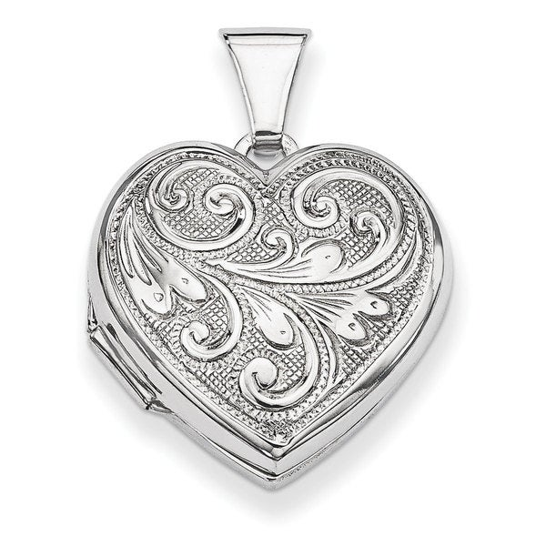 Versil Sterling Silver Scrolled Front and Back Heart Locket