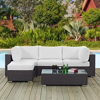 Gather 5-piece Outdoor Patio Sectional Set with Coffee Table and Ottoman