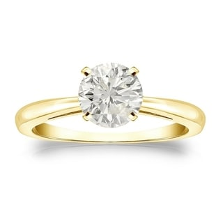 Auriya 18k Gold 1ct TDW Round-cut Diamond Solitaire Engagement Ring (J-K, I1-I2)