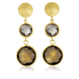 Collette Z Gold Overlay Genuine Light Smoky Quartz Earrings