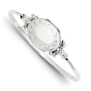 Versil Sterling Silver Etched Locket Bangle Bracelet