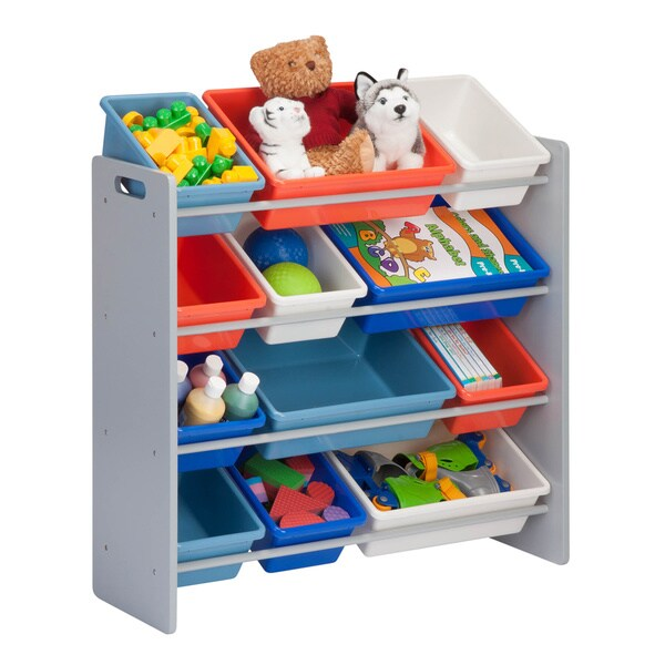 kids storage organizer- 12 bins- natural