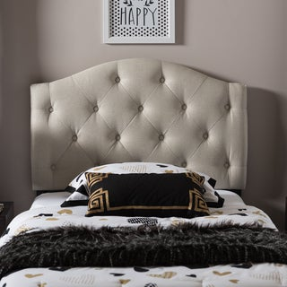 Baxton Studio Melina Modern and Contemporary Twin Size Fabric Upholstered Button-tufted Scalloped Headboard