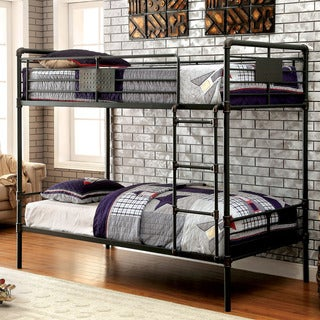 Furniture of America Herman Industrial Antique Black Twin over Twin Bunk Bed