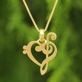 Handcrafted Gold Overlay 'Music of Love' Necklace (Thailand)
