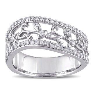 Miadora Signature Collection 14k White Gold 1/2ct TDW Diamond Filigree Vine Anniversary Ring (G-H, I1-I2)
