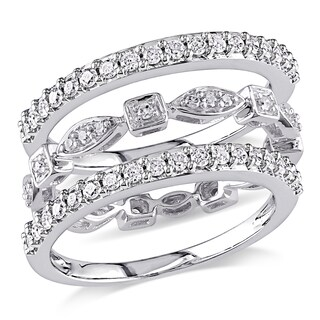 Miadora Signature Collection 10k White Gold 3/4ct TDW Diamond 3-piece Anniversary Stackable Ring Set (G-H, I2-I3)