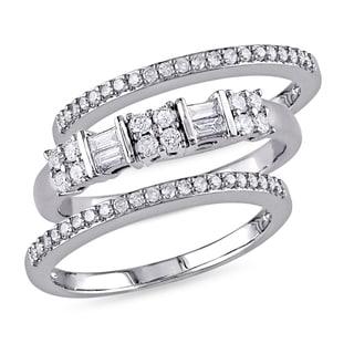 Miadora 10k White Gold 1/2ct TDW Diamond 3-piece Anniversary Stackable Ring Set (G-H, I2-I3)