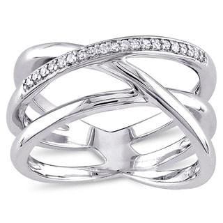 Miadora Sterling Silver 1/10ct TDW Diamond Crossover Ring (G-H, I2-I3)