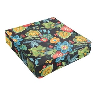 Black Tropical Indoor/ Outdoor Square Cushion - Corded