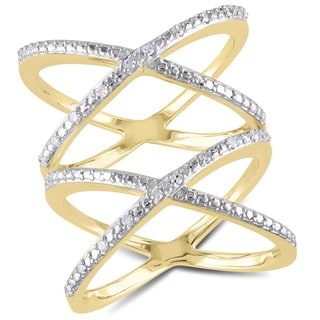 Miadora Yellow Plated Sterling Silver 1/10ct TDW Diamond Double Criss-cross Ring (G-H, I2-I3)