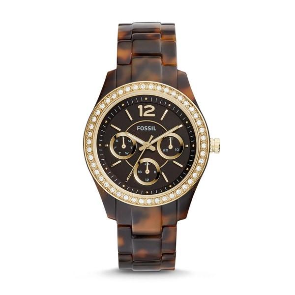 Fossil Women's ES3814 Stella Multi-Function Brown Dial Tortoise Resin Bracelet Watch