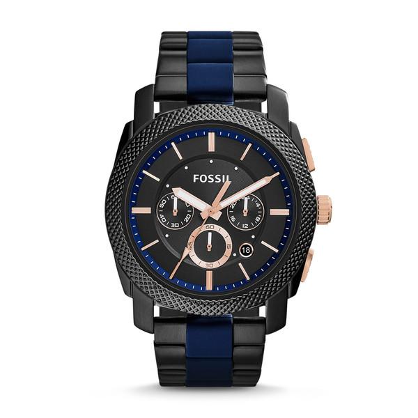 Fossil Men's FS5164 Machine Chronograph Black Dial Two-Tone Bracelet Watch