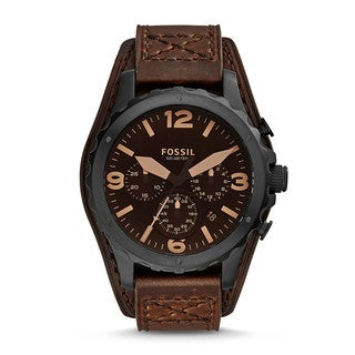Fossil Men's JR1511 Nate Chronograph Brown Dial Brown Leather Watch