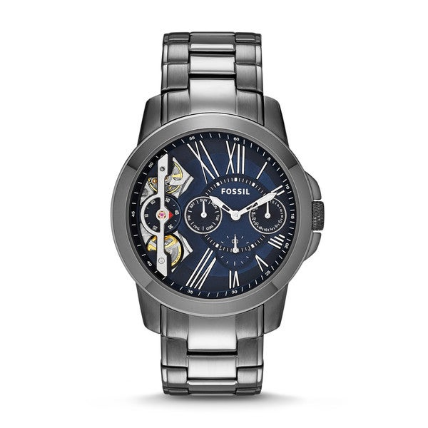 Fossil Men's ME1146 Grant Twist Multi-Function Blue Dial Grey Stainless Steel Bracelet Watch
