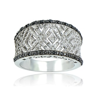 DB Designs Sterling Silver 1/4ct TDW Vintage Black/ Blue and White Diamond Ring