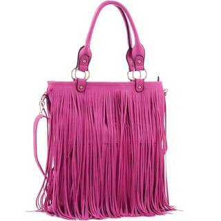 Dasein Fringe Faux Leather Large Tote Bag