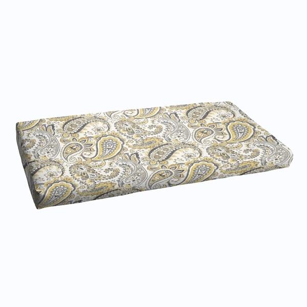 Grey Gold Paisley Indoor Outdoor Bristol Bench Cushion