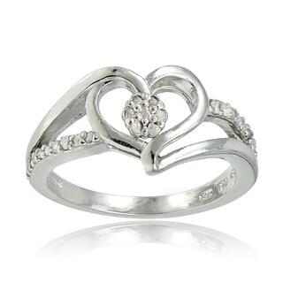 DB Designs Sterling Silver 1/10ct TDW Diamond Heart Ring