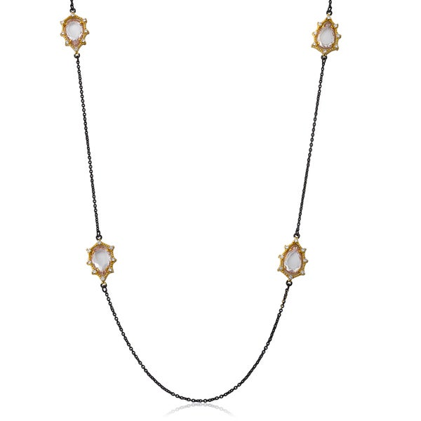 Cosmopolitan Yellow Goldplated Black Rhodium-Plated Faceted Glass Teardrops Chain Necklace 17676109