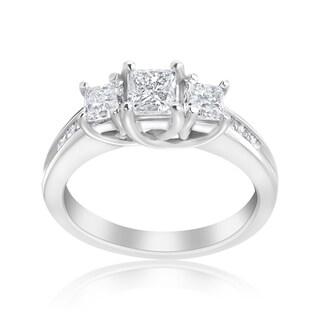 Andrew Charles 14k White Gold 1 1/2ct TDW 3-stone Diamond Princess Ring (H-I, SI2-I1)